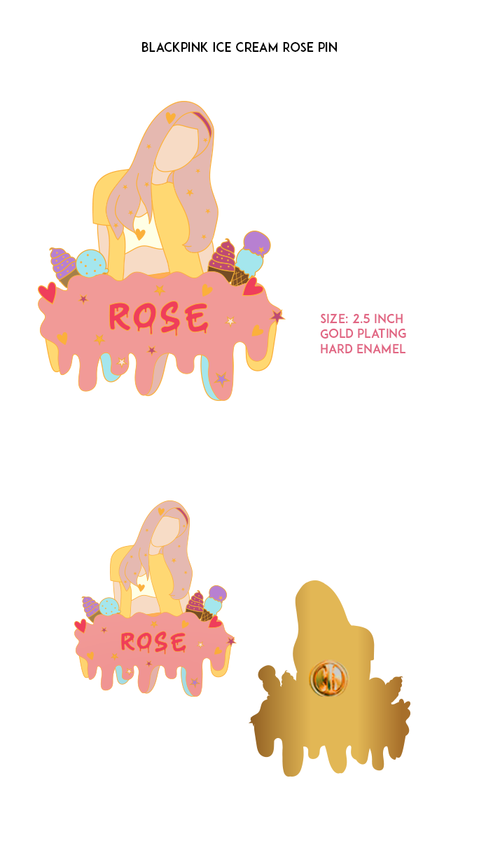 Blackpink Ice-Cream Rose Enamel Pin